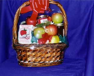 Fruit Basket #6. Apple Everything $40 - This basket is an apple lover's favorite. It starts off with 20 apples delicately picked from our trees; we add a jar of our own apple butter, apple-pecan salad dressing and apple-cinnamon barbeque sauce.